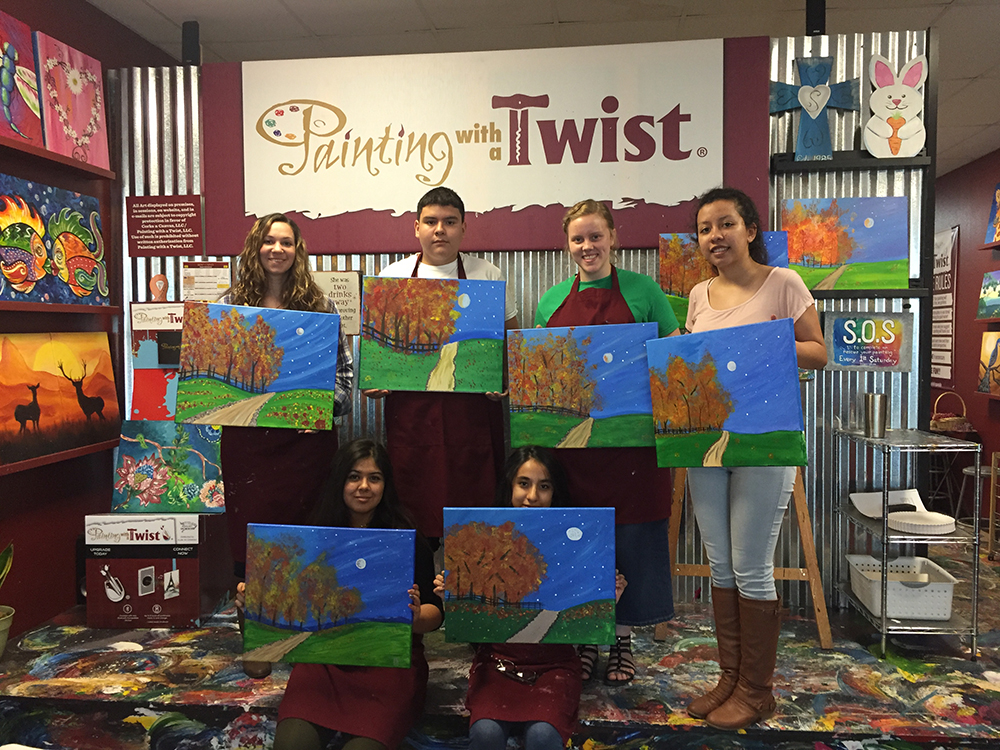 high school art class goes to painting with a twist