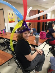 Mrs. McCreight with balloons on her head